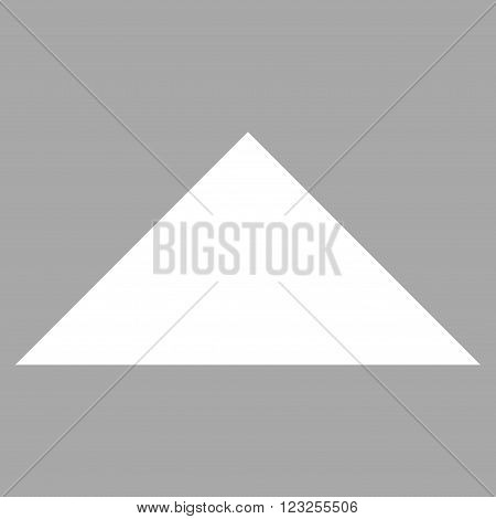 Arrowhead Up vector icon. Image style is flat arrowhead up pictogram symbol drawn with white color on a silver background.