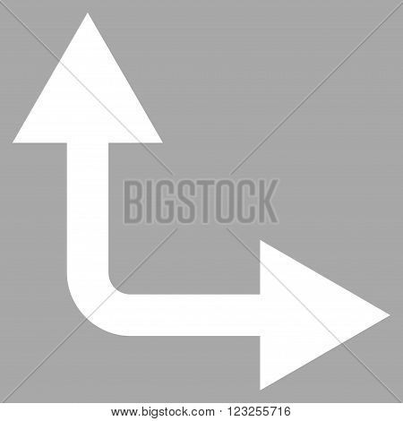 Bifurcation Arrow Right Up vector icon. Image style is flat bifurcation arrow right up pictogram symbol drawn with white color on a silver background.