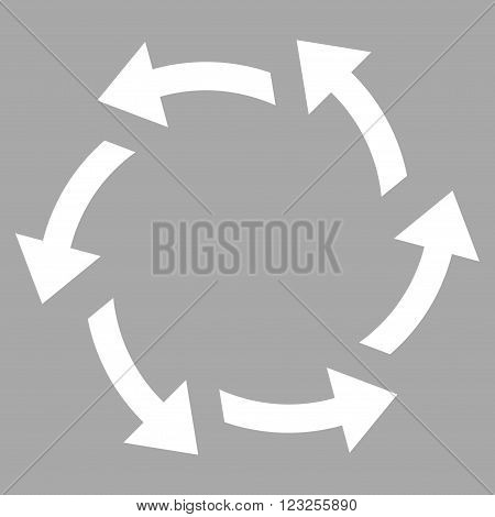 Centrifugal Arrows vector icon. Image style is flat centrifugal arrows pictogram symbol drawn with white color on a silver background.