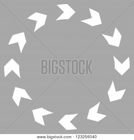 Circulation vector icon. Image style is flat circulation pictogram symbol drawn with white color on a silver background.
