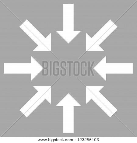 Collapse Arrows vector icon. Image style is flat collapse arrows pictogram symbol drawn with white color on a silver background.