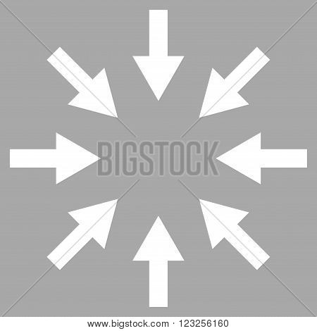 Compact Arrows vector icon. Image style is flat compact arrows pictogram symbol drawn with white color on a silver background.