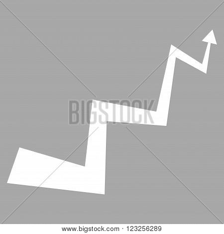 Curve Arrow vector icon. Image style is flat curve arrow pictogram symbol drawn with white color on a silver background.