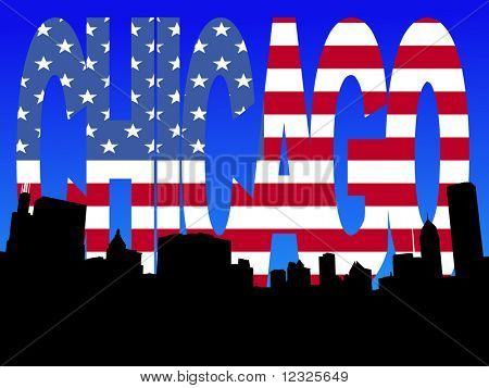 Chicago skyline with American flag text illustration