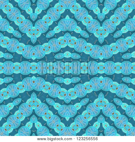 Abstract geometric seamless background.  Ornate and delicate drawing, zigzag pattern. Ellipses and circles pattern light blue and aquamarine on turquoise with ocher brown and light gray elements.