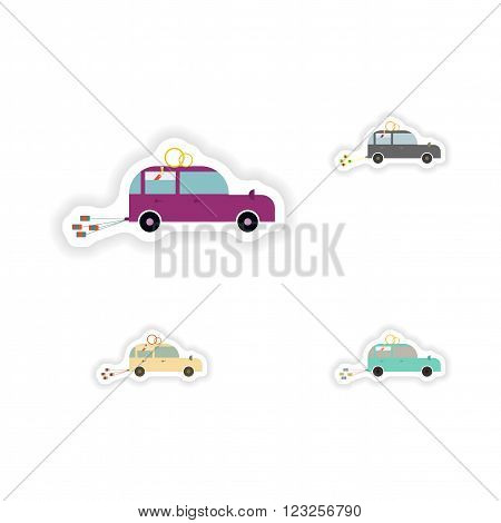 stylish concept paper sticker on white background  Honeymoon car