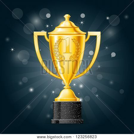 Golden cup with laurels - first place award