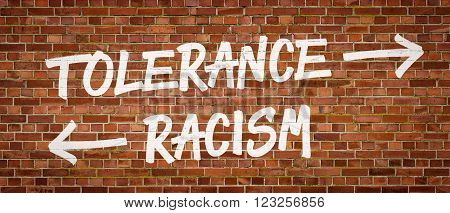 Tolerance Or Racism Written On A Brick Wall