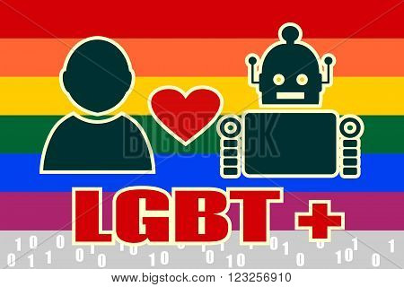 Human and robot relationships. Robotics industry relative image. Heart icon between robot and human. LGBT text and rainbow flag