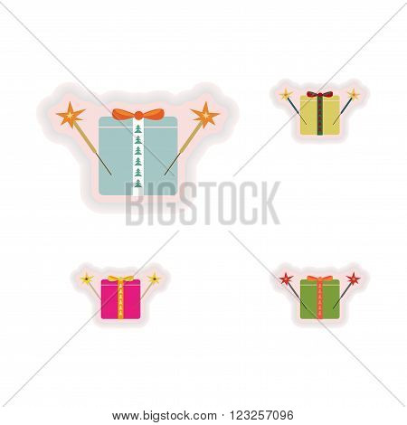 stylish concept paper sticker on white background gift sparklers