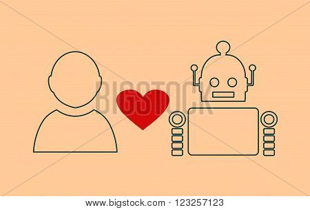 Human and robot relationships. Robotics industry relative image. Heart icon between robot and human. Outline icons