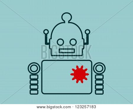 Cute vintage robot. Robotics industry relative image. Outline icon. Cog wheel instead heart