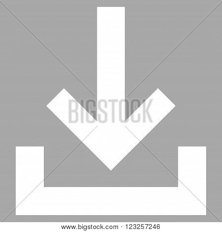 Inbox vector icon. Image style is flat inbox pictogram symbol drawn with white color on a silver background.