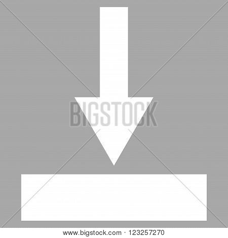 Move Bottom vector icon. Image style is flat move bottom pictogram symbol drawn with white color on a silver background.