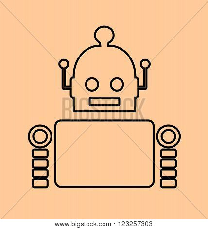 Cute vintage robot. Robotics industry relative image. Outline icon