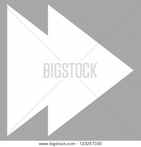 Move Right vector icon. Image style is flat move right pictogram symbol drawn with white color on a silver background.