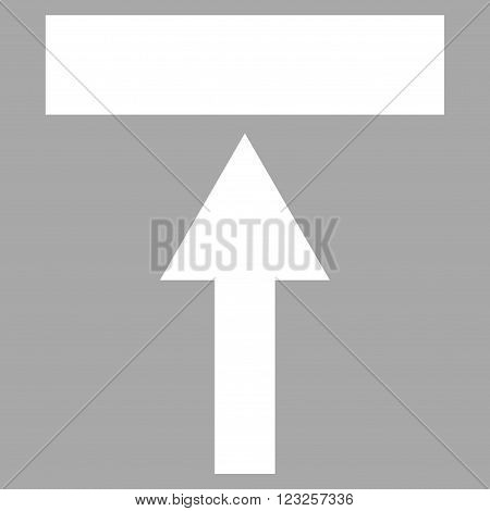 Move Top vector icon. Image style is flat move top pictogram symbol drawn with white color on a silver background.