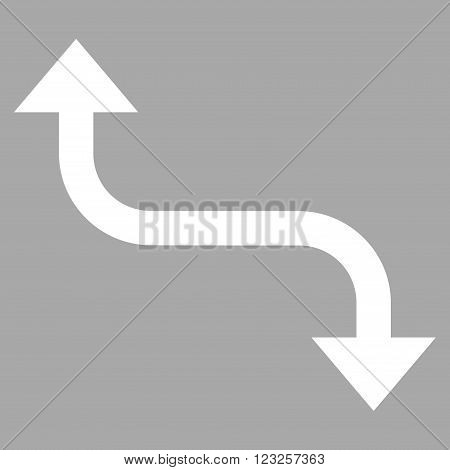 Opposite Bend Arrow vector icon. Image style is flat opposite bend arrow pictogram symbol drawn with white color on a silver background.