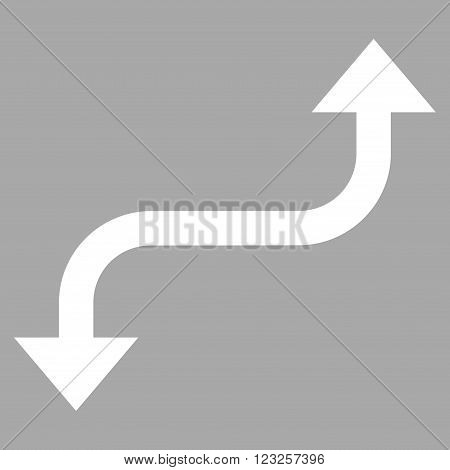 Opposite Curved Arrow vector icon. Image style is flat opposite curved arrow pictogram symbol drawn with white color on a silver background.