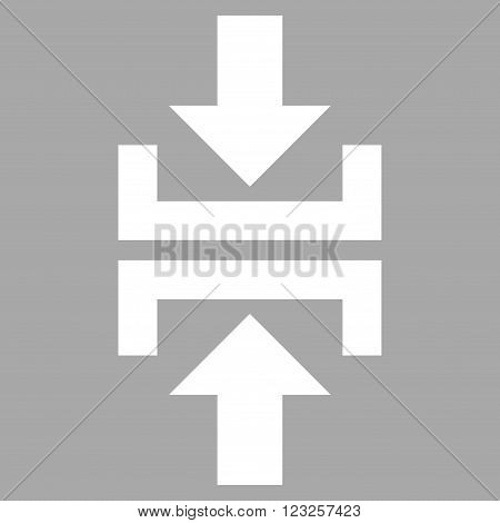 Press Vertical Direction vector icon. Image style is flat press vertical direction pictogram symbol drawn with white color on a silver background.