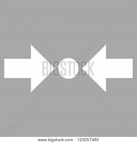 Pressure Horizontal vector icon. Image style is flat pressure horizontal pictogram symbol drawn with white color on a silver background.