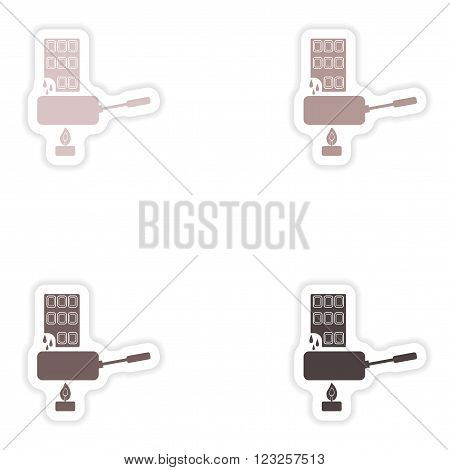 Set of paper stickers on white background  chocolate fondue