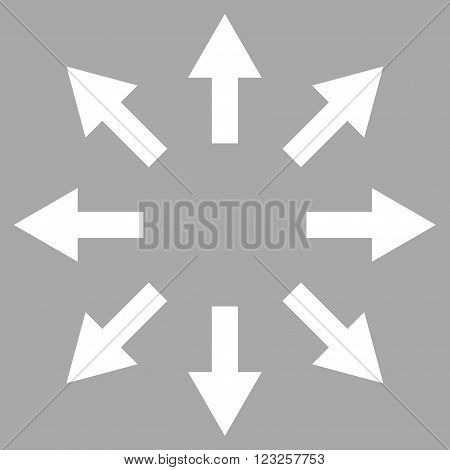 Radial Arrows vector icon. Image style is flat radial arrows pictogram symbol drawn with white color on a silver background.