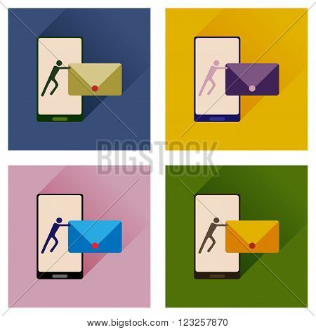 Concept of flat icons with long shadow phone message