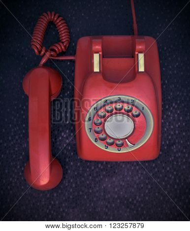 red retro phone from above