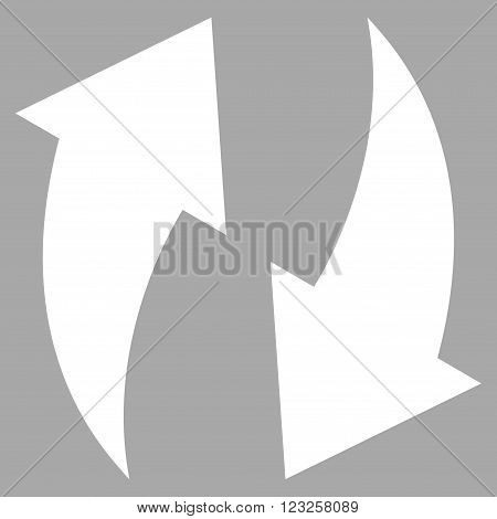 Refresh vector icon. Image style is flat refresh pictogram symbol drawn with white color on a silver background.