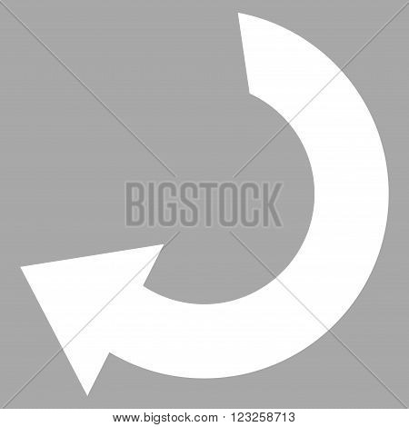 Rotate vector icon. Image style is flat rotate pictogram symbol drawn with white color on a silver background.