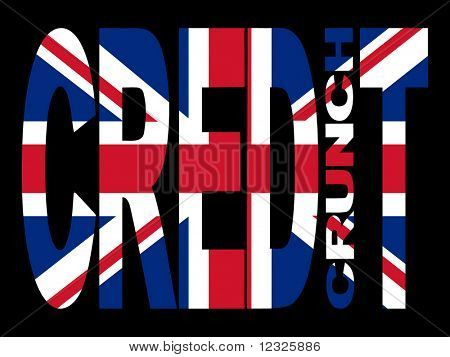 Credit crunch text with British flag illustration