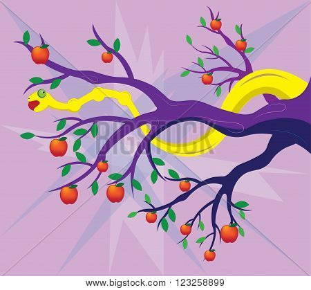 The yellow snake on a tree, eats red apples.