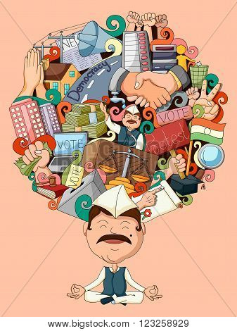 vector illustration of dream and thought of politician