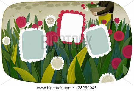 An illustration of a template flower frames on a field with a gardener on the background, a business metaphor.
