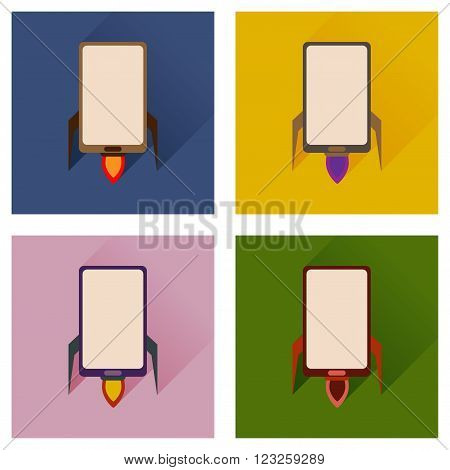 Concept of flat icons with long shadow mobile rocket