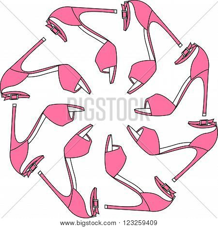 Set of different color shoes in circle. Round shape made of high heel shoes