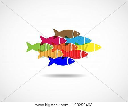 Colorful fishes swimming together - unity concept. A small flock of fish - flat design. Flat fish icon - vector illustration.