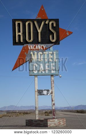 Amboy California USA - February 26 2016: Legendary Roy's Motel and Cafe on historic Highway Route 66.