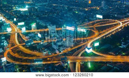 Twilight, aerial view highway interchanged long exposure