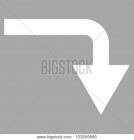 Turn Down vector icon. Image style is flat turn down pictogram symbol drawn with white color on a silver background.