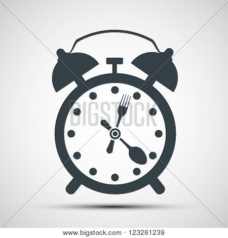 Icon alarm clock with a fork and spoon. Stock vector illustration.