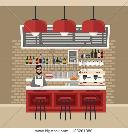 Cafe Interior. Different Beverages. Coffee Maker. Barman. Bar Table. European Cafe. Bistro Restaurant Coffee House. Vector illustration. Flat Style