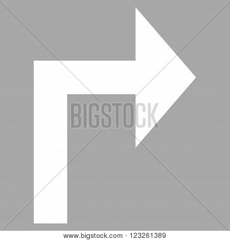 Turn Right vector icon. Image style is flat turn right pictogram symbol drawn with white color on a silver background.