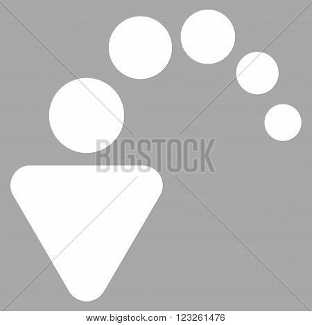 Undo vector icon. Image style is flat undo pictogram symbol drawn with white color on a silver background.