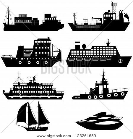Set of silhouettes of industrial cargo and passenger ships and boats. Vector illustration