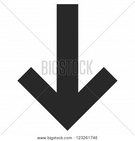 Arrow Down vector icon. Arrow Down icon symbol. Arrow Down icon image. Arrow Down icon picture. Arrow Down pictogram. Flat gray arrow down icon. Isolated arrow down icon graphic.
