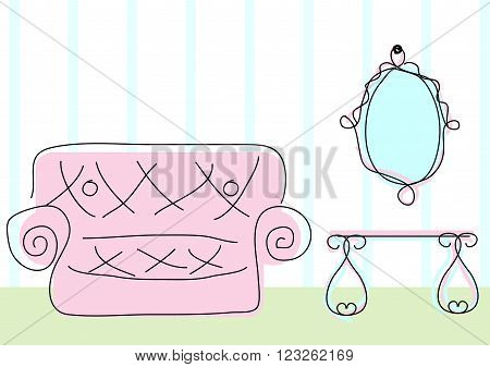 Room view with sofa mirror and dressing table in doodle sketch style
