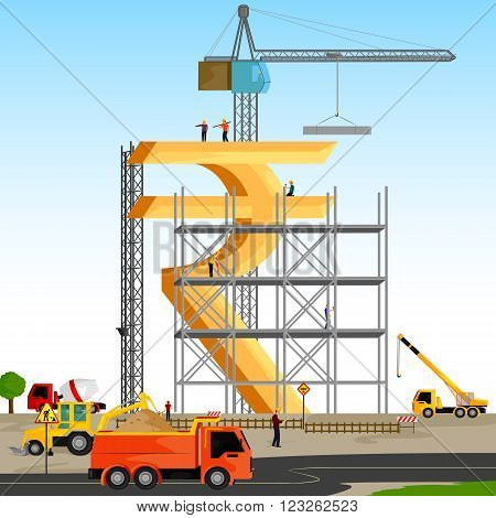 vector illustration of structure building of Indian Rupee