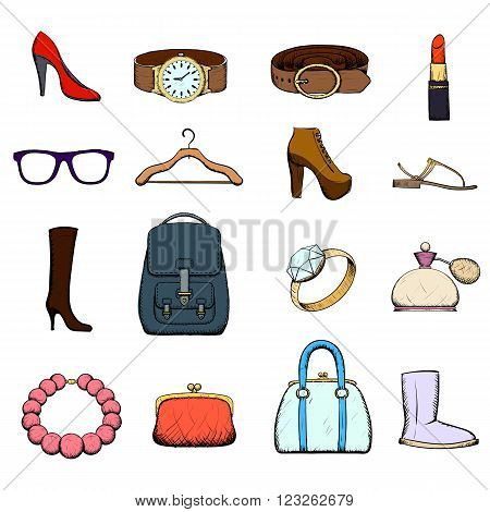 Set of clothing and accessories. Doodle image. Stock vector illustration.